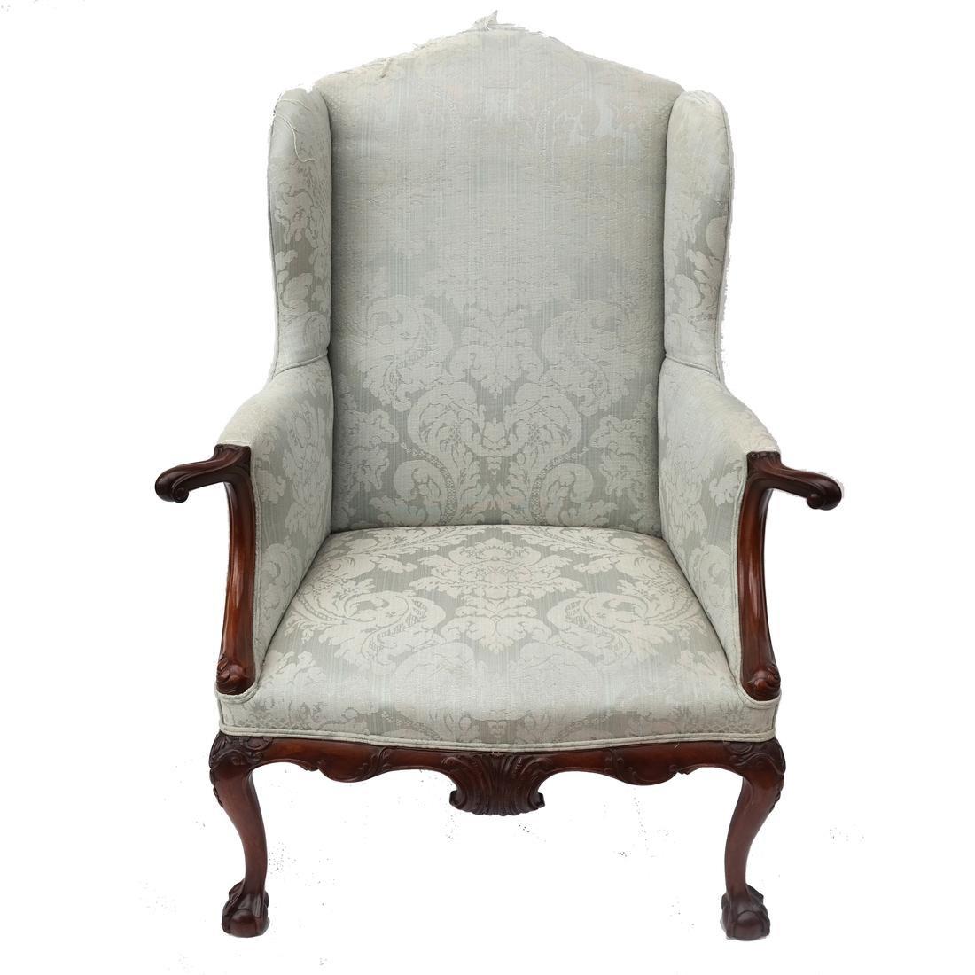 Irish Ball & Claw Wing Chair 19th Century