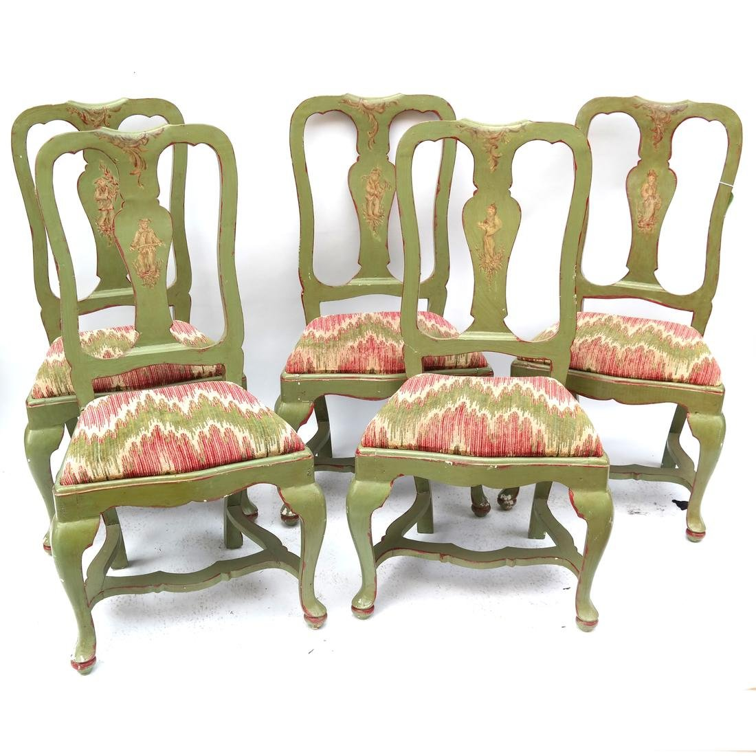 Set of 5 Italian Side Chairs 18th Century