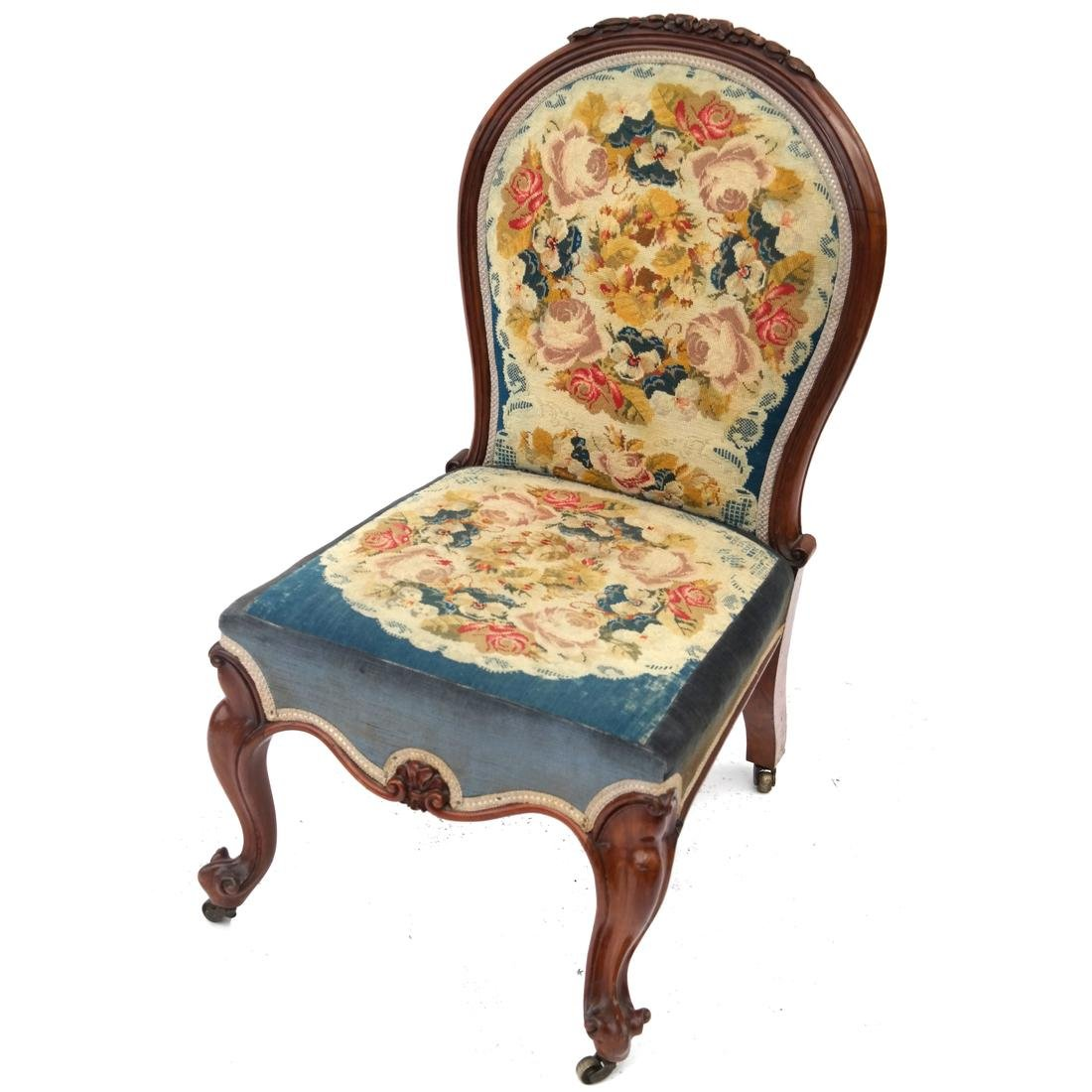 English Victorian Needlepoint Slipper Chair
