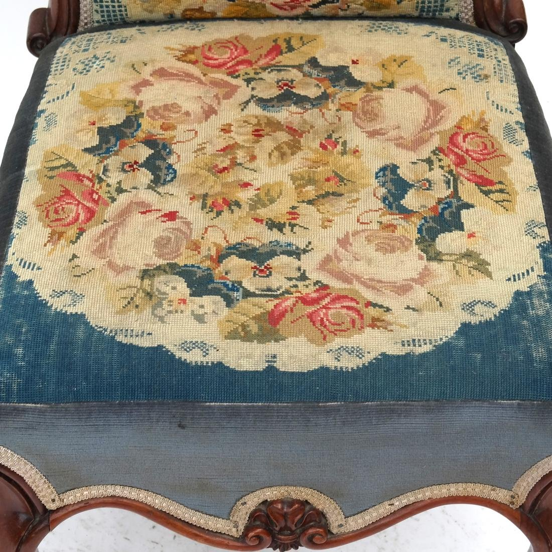 English Victorian Needlepoint Slipper Chair - 2