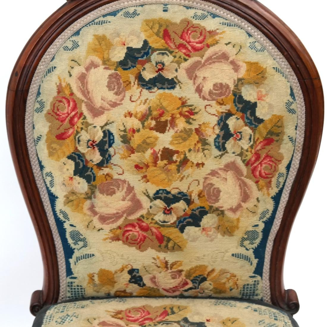 English Victorian Needlepoint Slipper Chair - 4