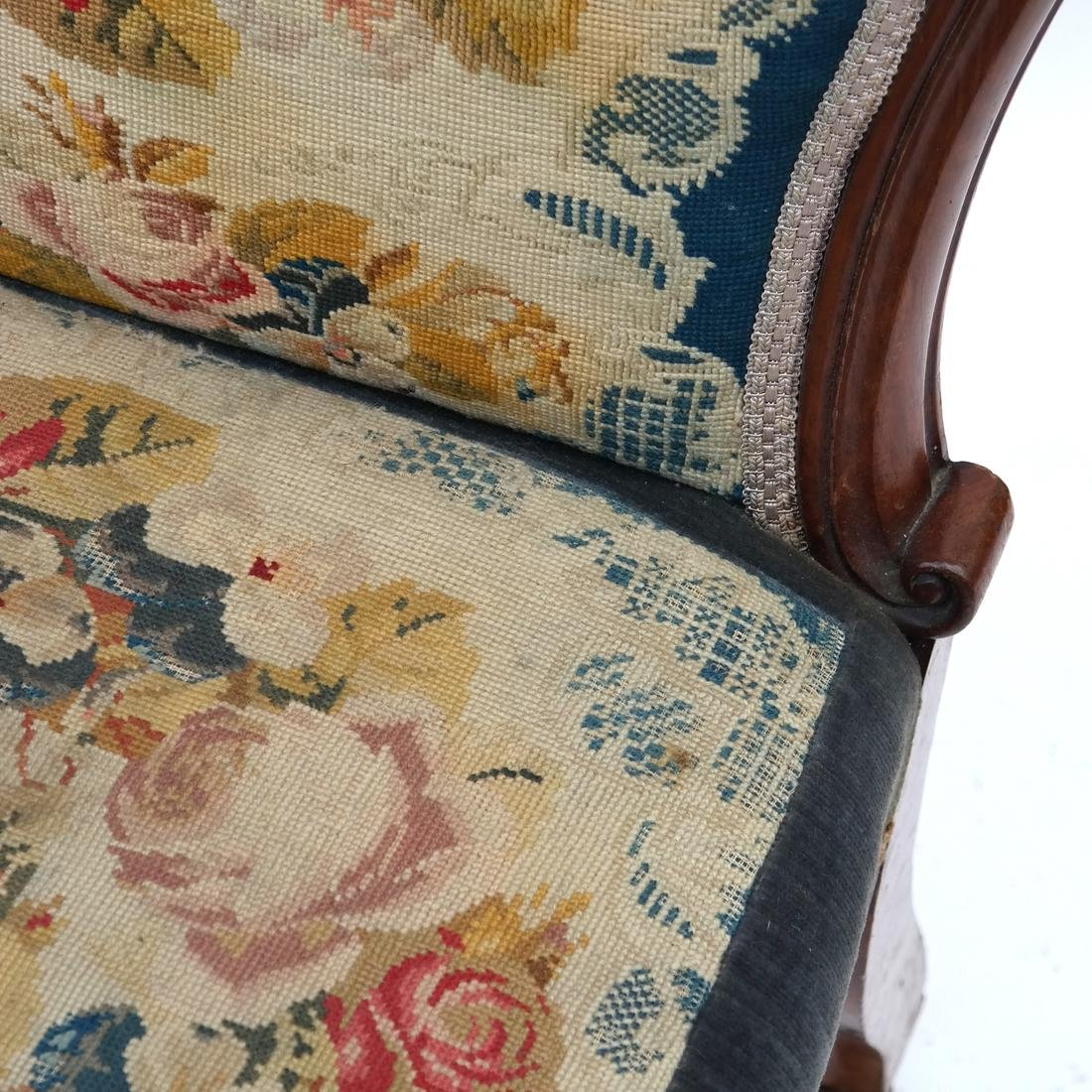 English Victorian Needlepoint Slipper Chair - 5