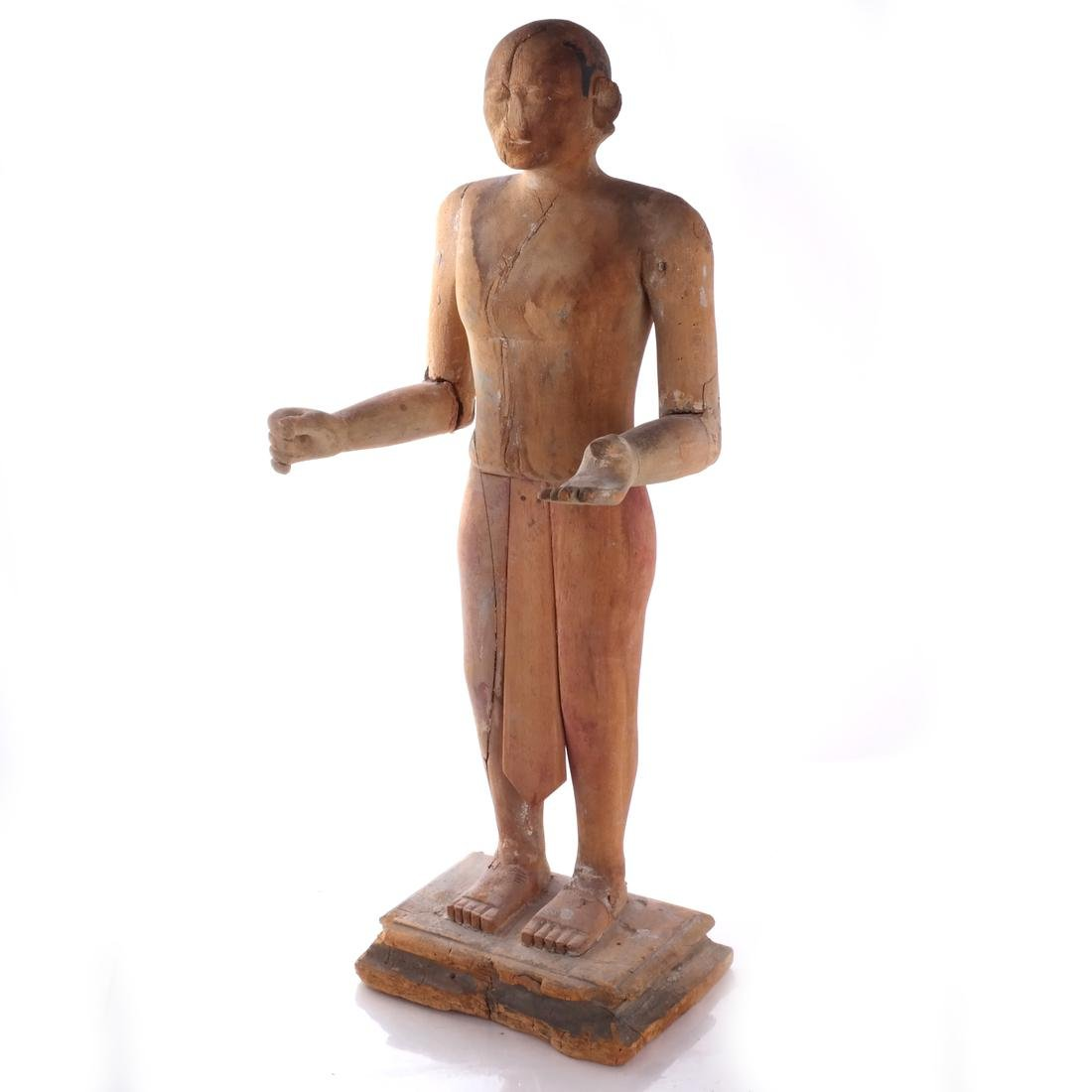 S. India Wood Priest Sculpture