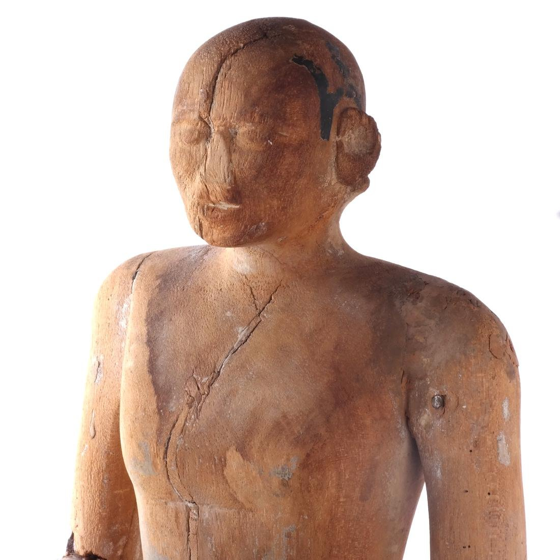 S. India Wood Priest Sculpture - 2