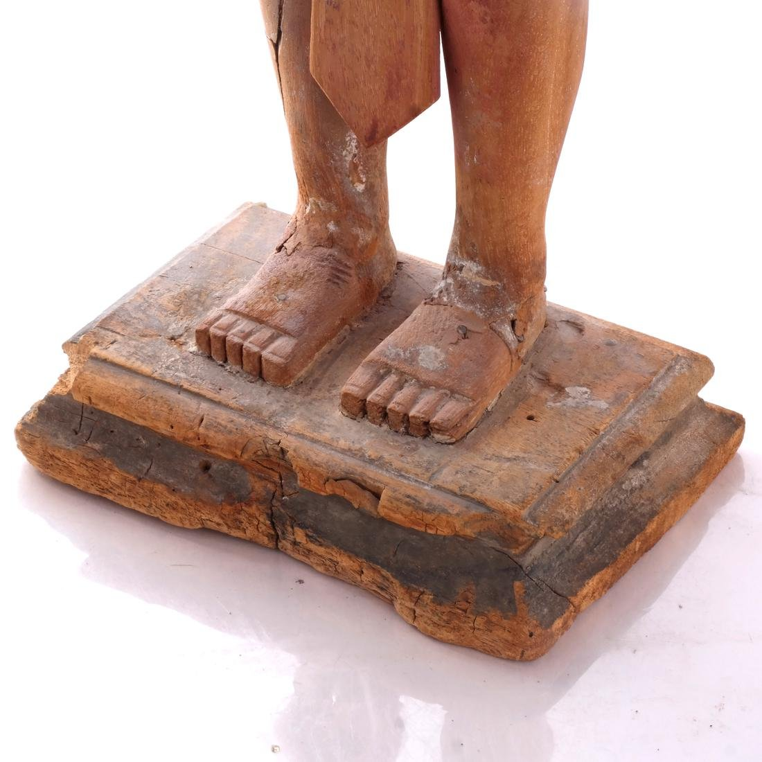 S. India Wood Priest Sculpture - 4