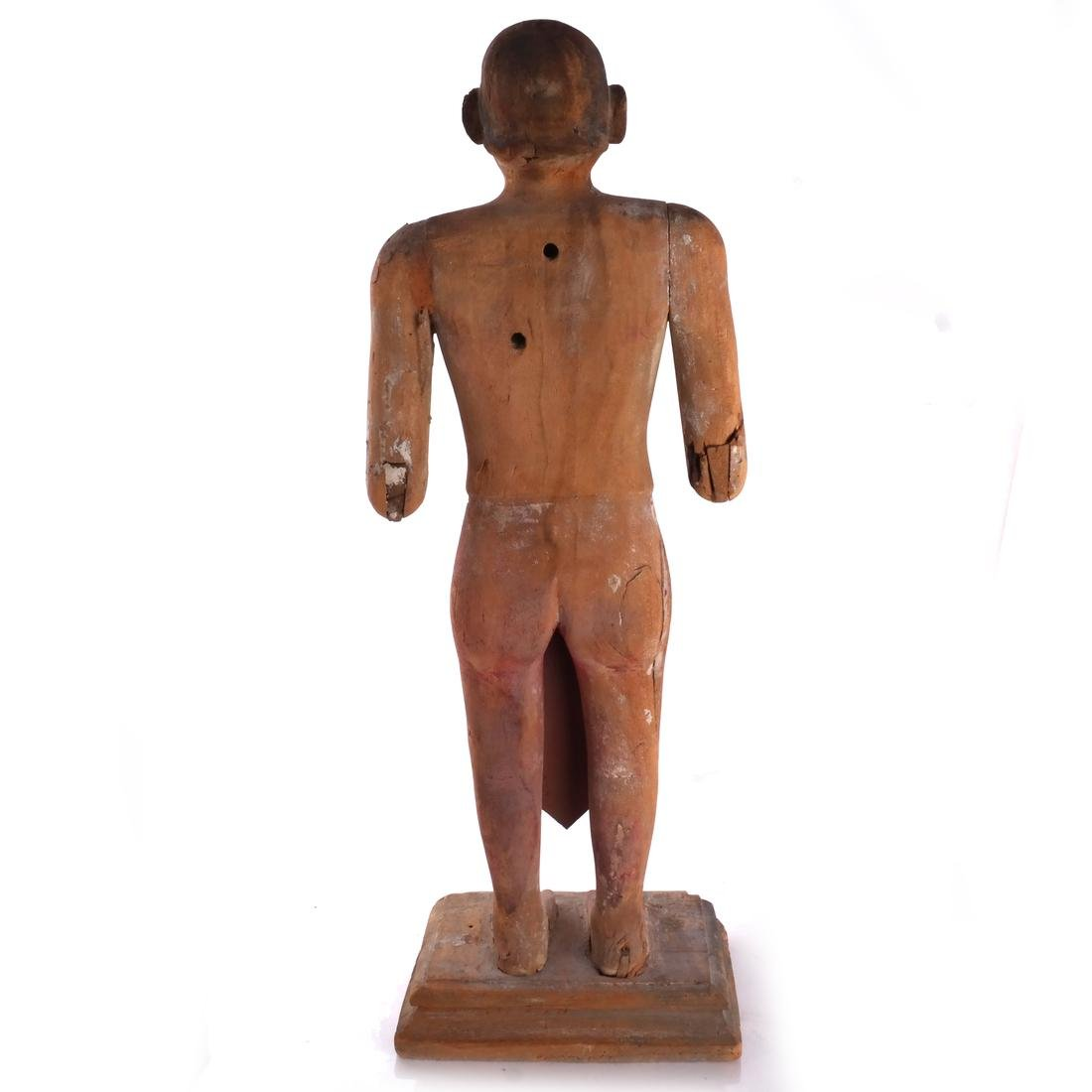 S. India Wood Priest Sculpture - 6
