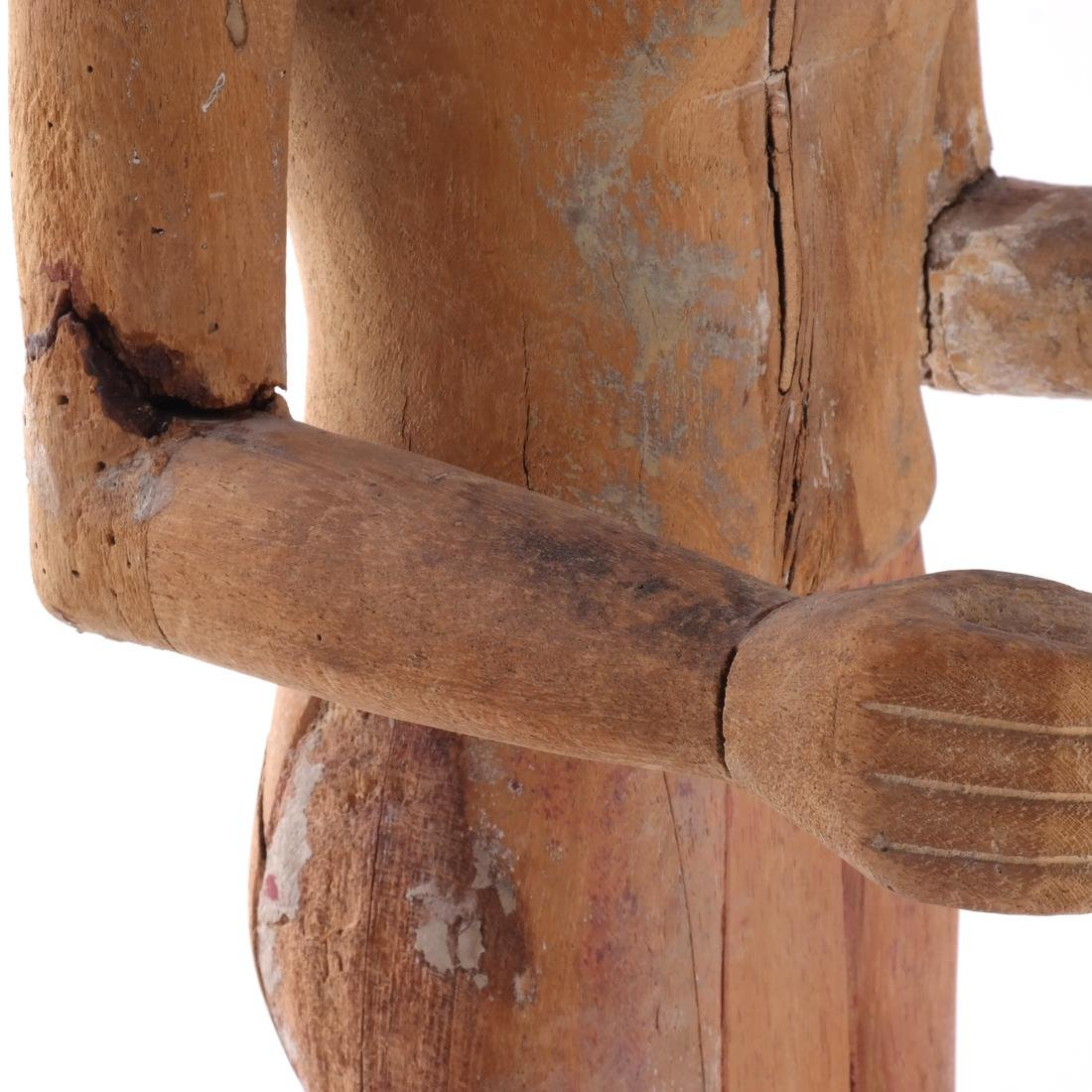 S. India Wood Priest Sculpture - 8