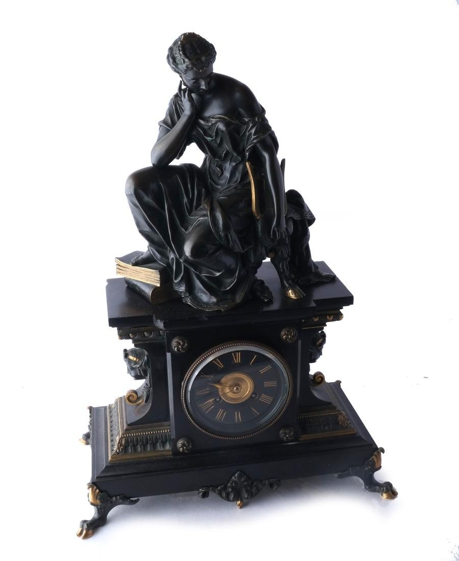 French Bronze, Marble Mantel Clock