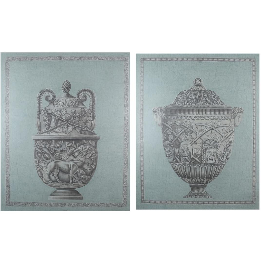 Pair of Decorated Panels - Urns