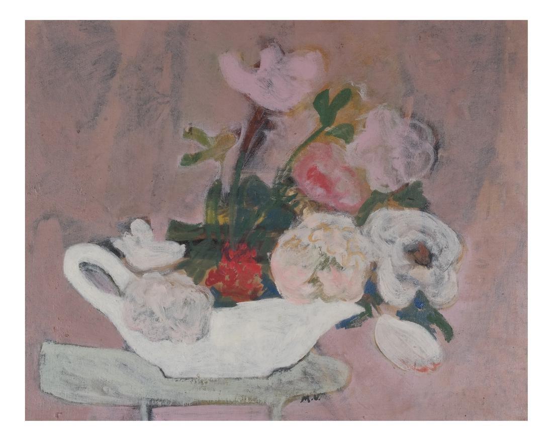 Framed Still Life, Flower Pastel O/C