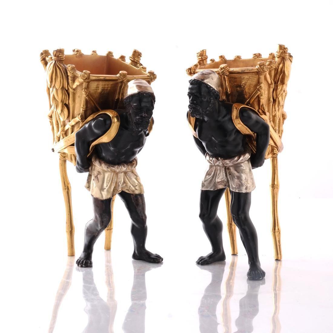 Pair Polychrome Bronze Figures