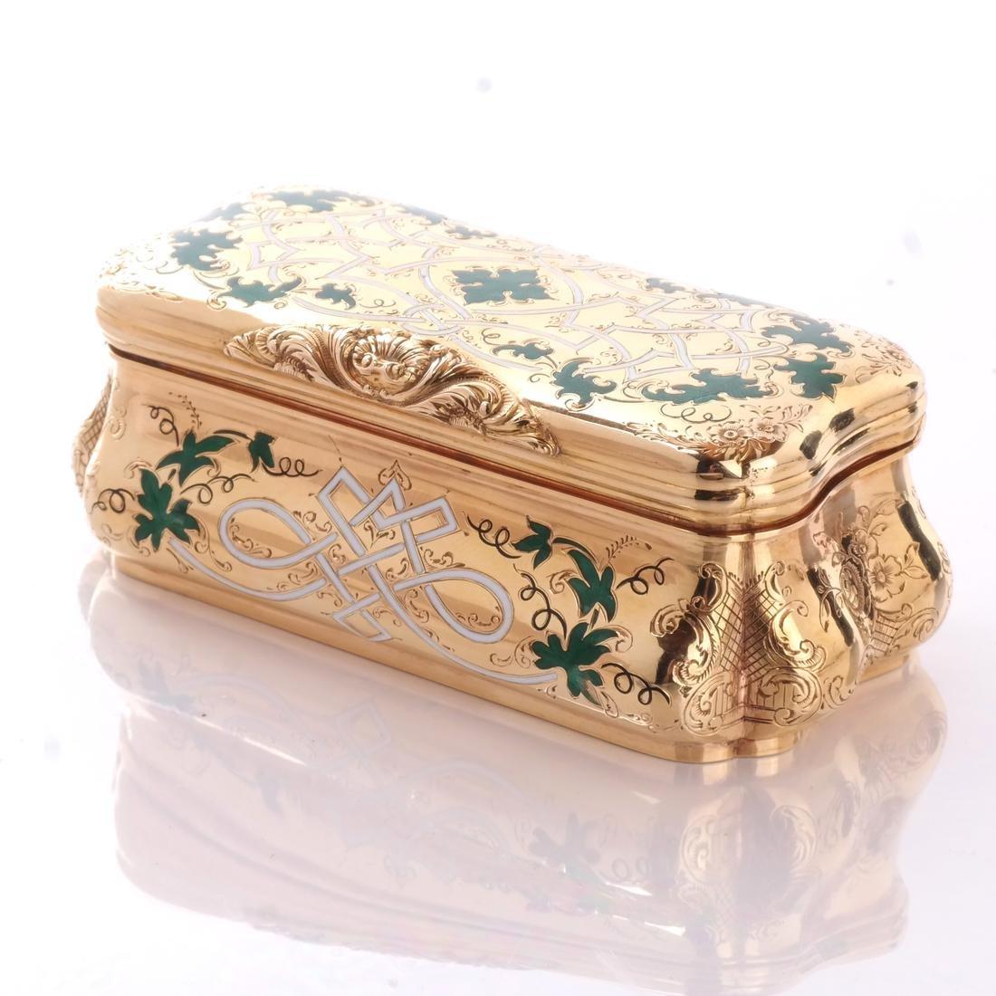 14k Yellow Gold & Enamel Box