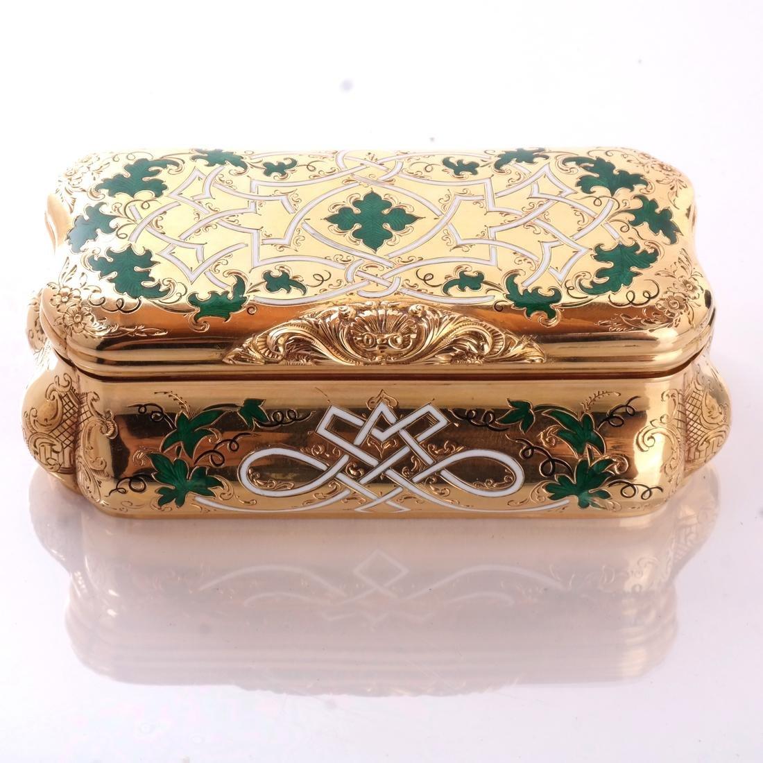 14k Yellow Gold & Enamel Box - 2