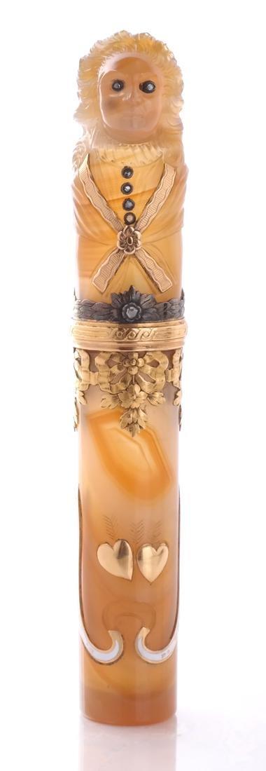 Agate, Enamel, Gold Perfume Bottle