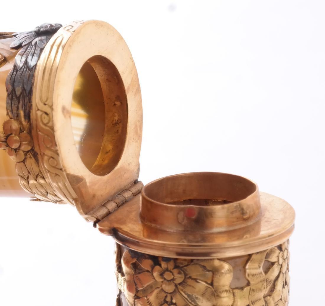 Agate, Enamel, Gold Perfume Bottle - 6