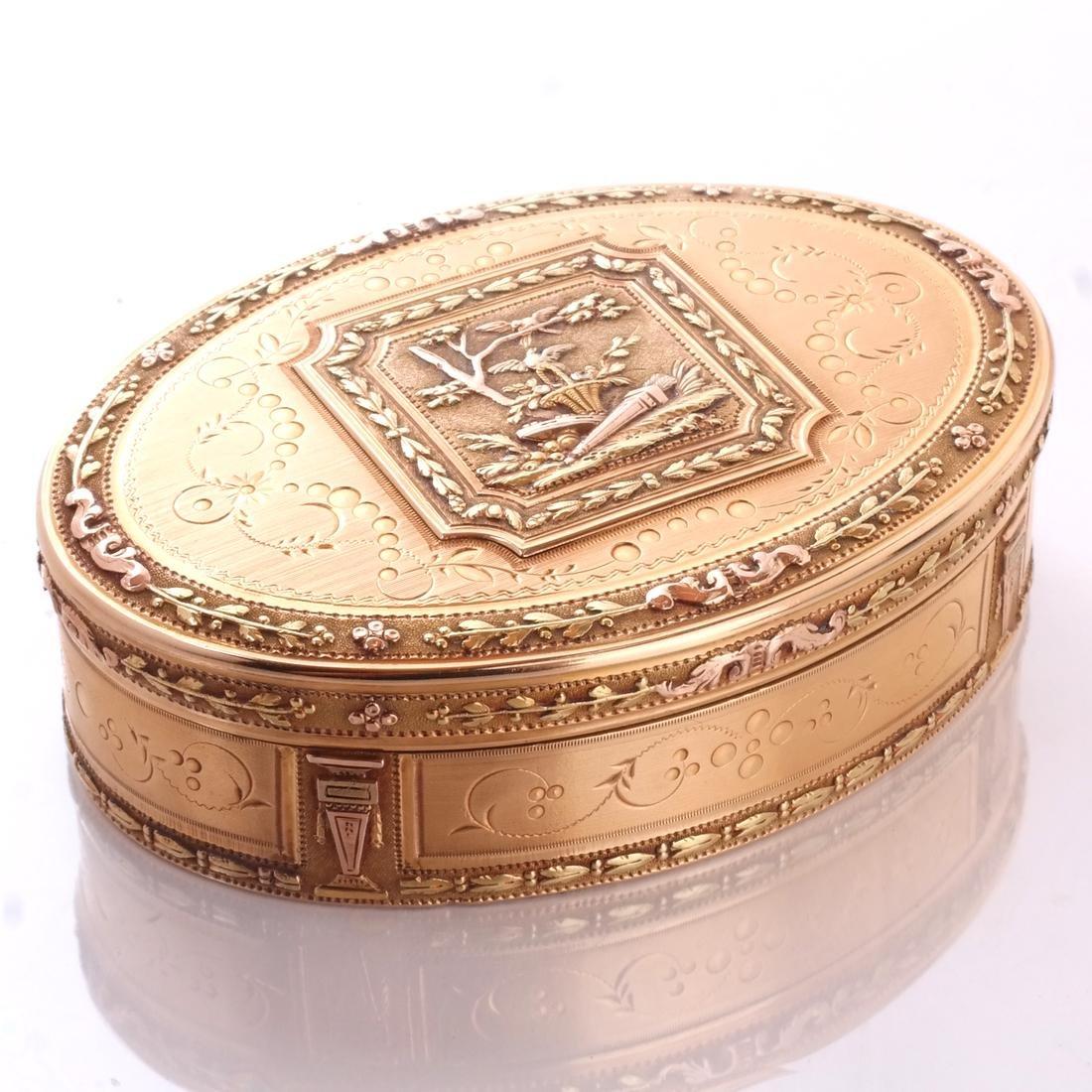 Swiss 18k Gold Snuff Box, 19th C.