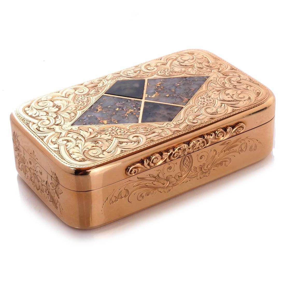 Gold & Quartz Snuff Box