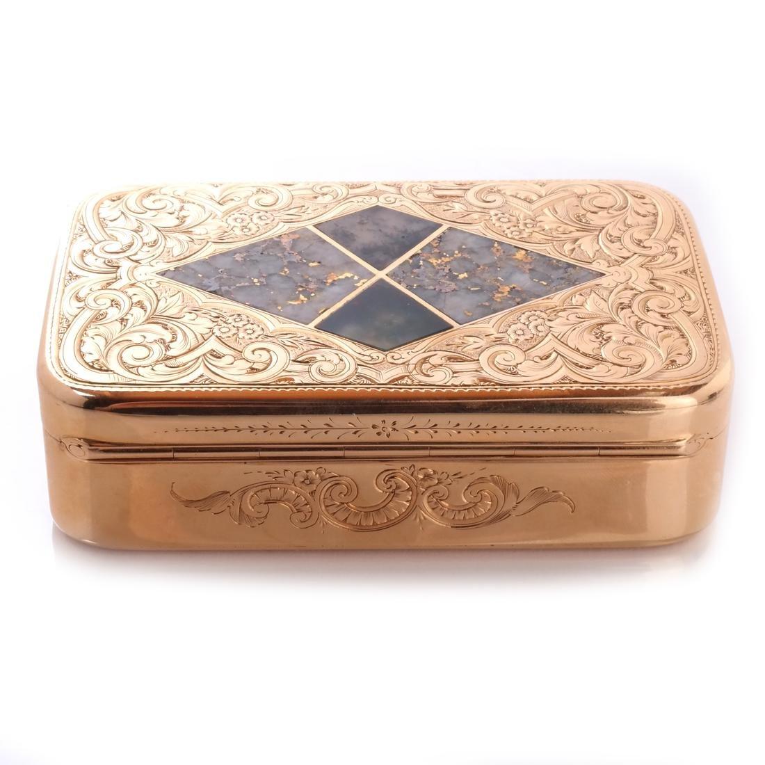 Gold & Quartz Snuff Box - 4