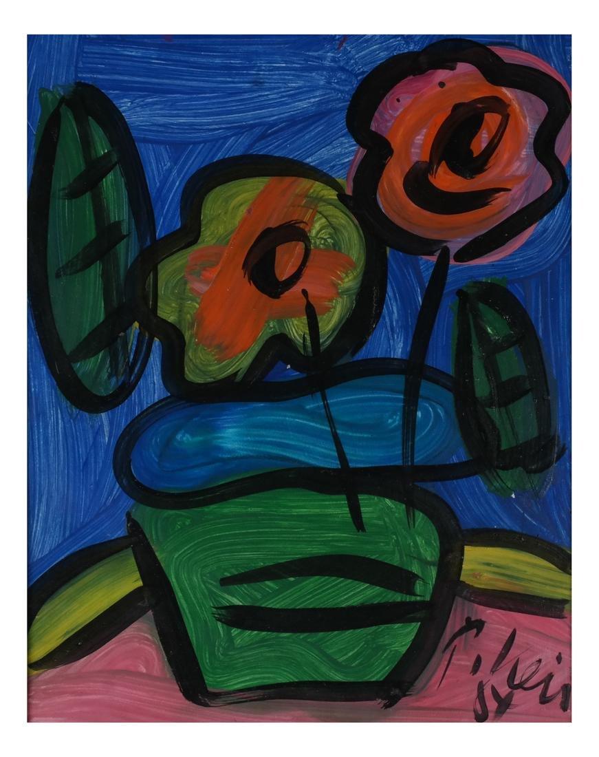 Peter Keil: Floral Still Life, Oil/Board