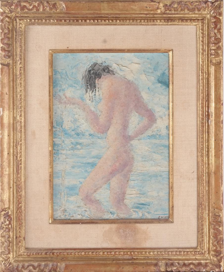 Nude Female in Water - Painting Juliette Davidow Estate