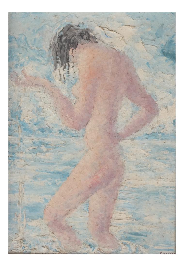Nude Female in Water - Painting Juliette Davidow Estate - 2