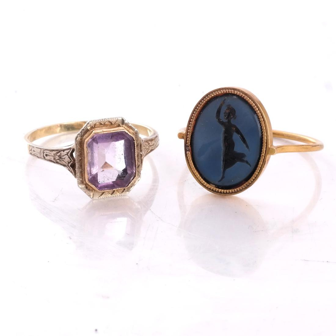 Roman 19th C. Intaglio Ring, and Another