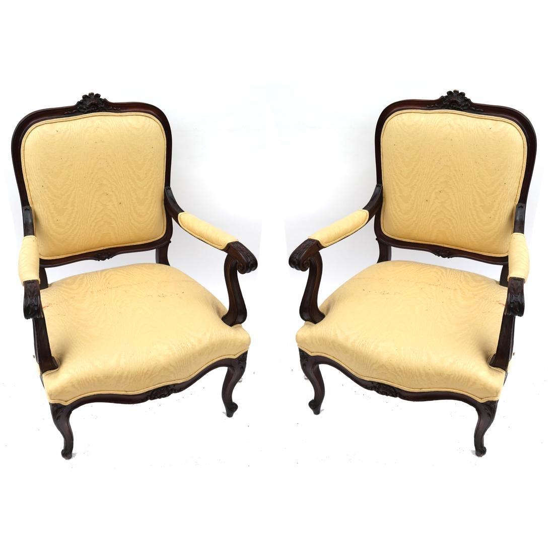 Pair German Open Armchairs 18th -19th Century