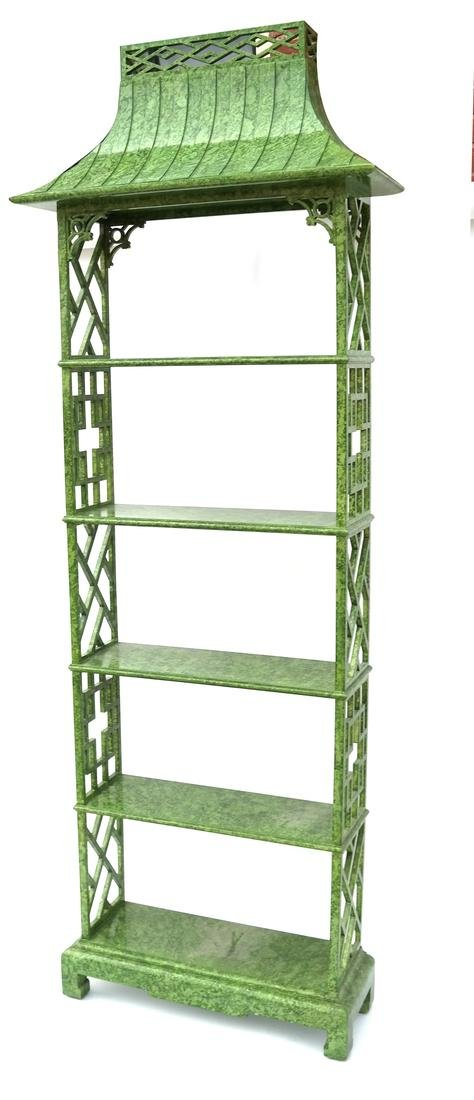 Asian Decorated Pagoda-Top Etagere