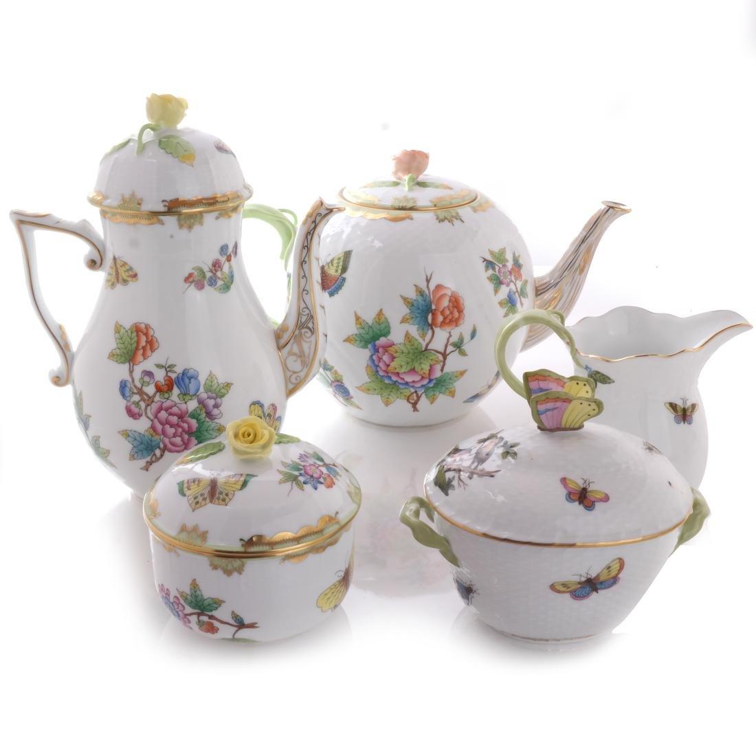 Five Herend Porcelain Tea Articles