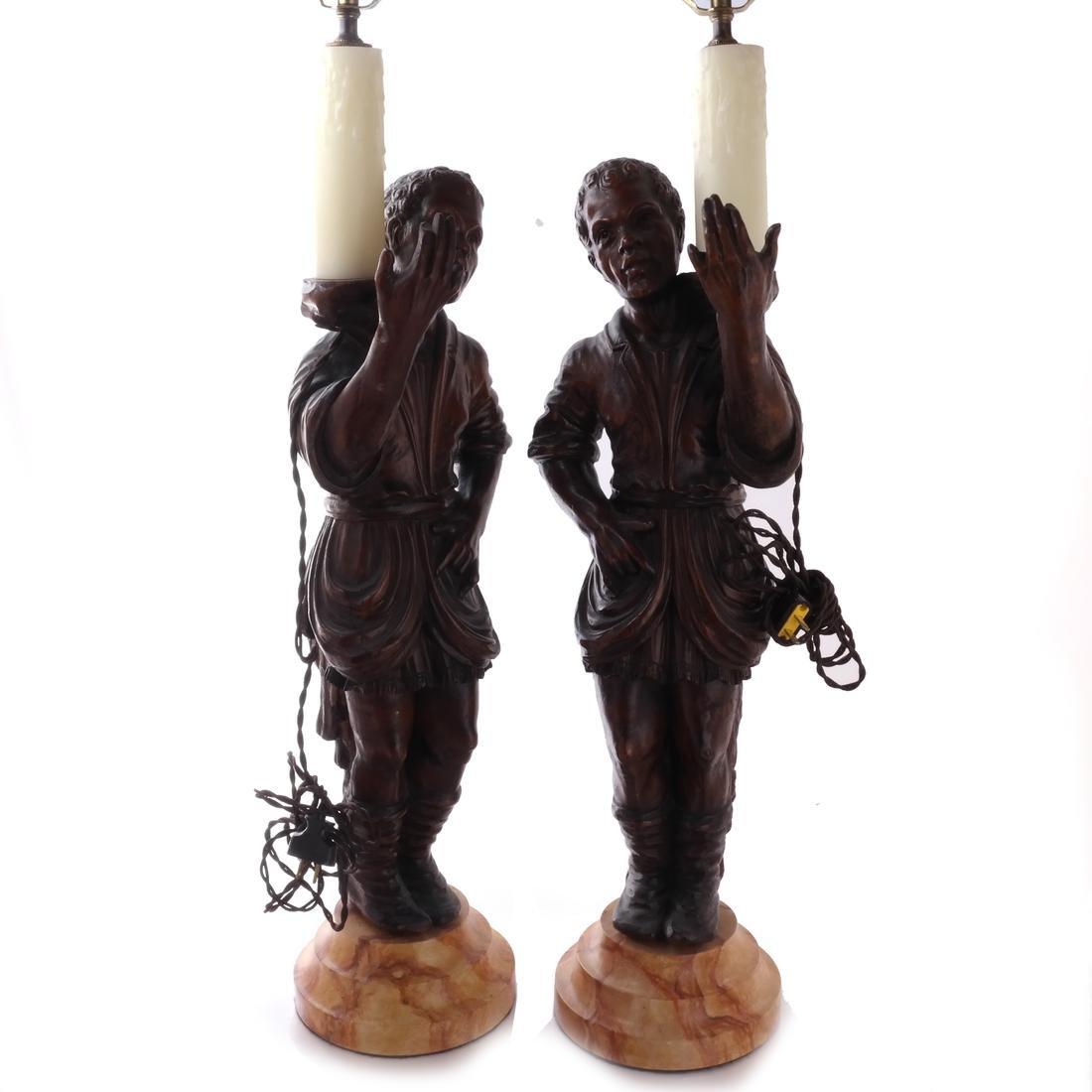 Pair Italian Blackamoor Figural Lamps 19th Century