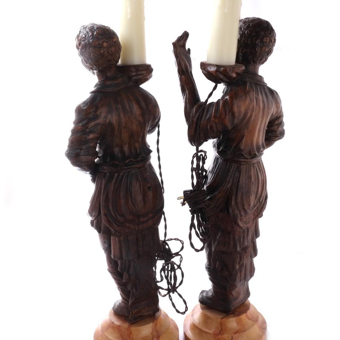 Pair Italian Blackamoor Figural Lamps 19th Century - 5