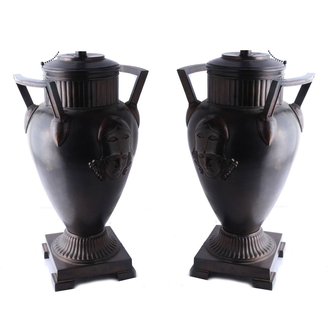 Etruscan-Style Bronze-Clad Table Lamps