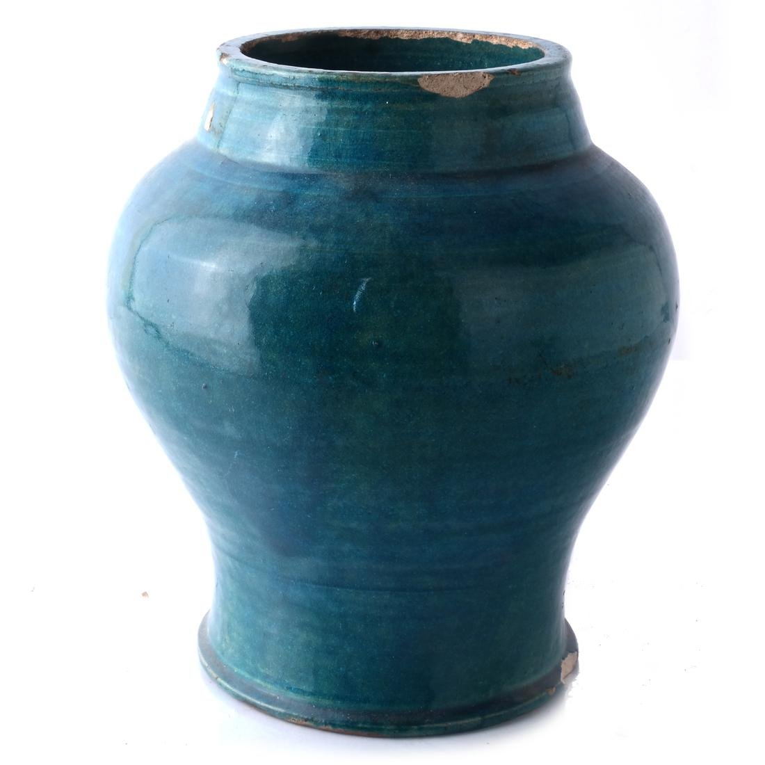 Chinese Ceramic Jar, Turquoise Colored