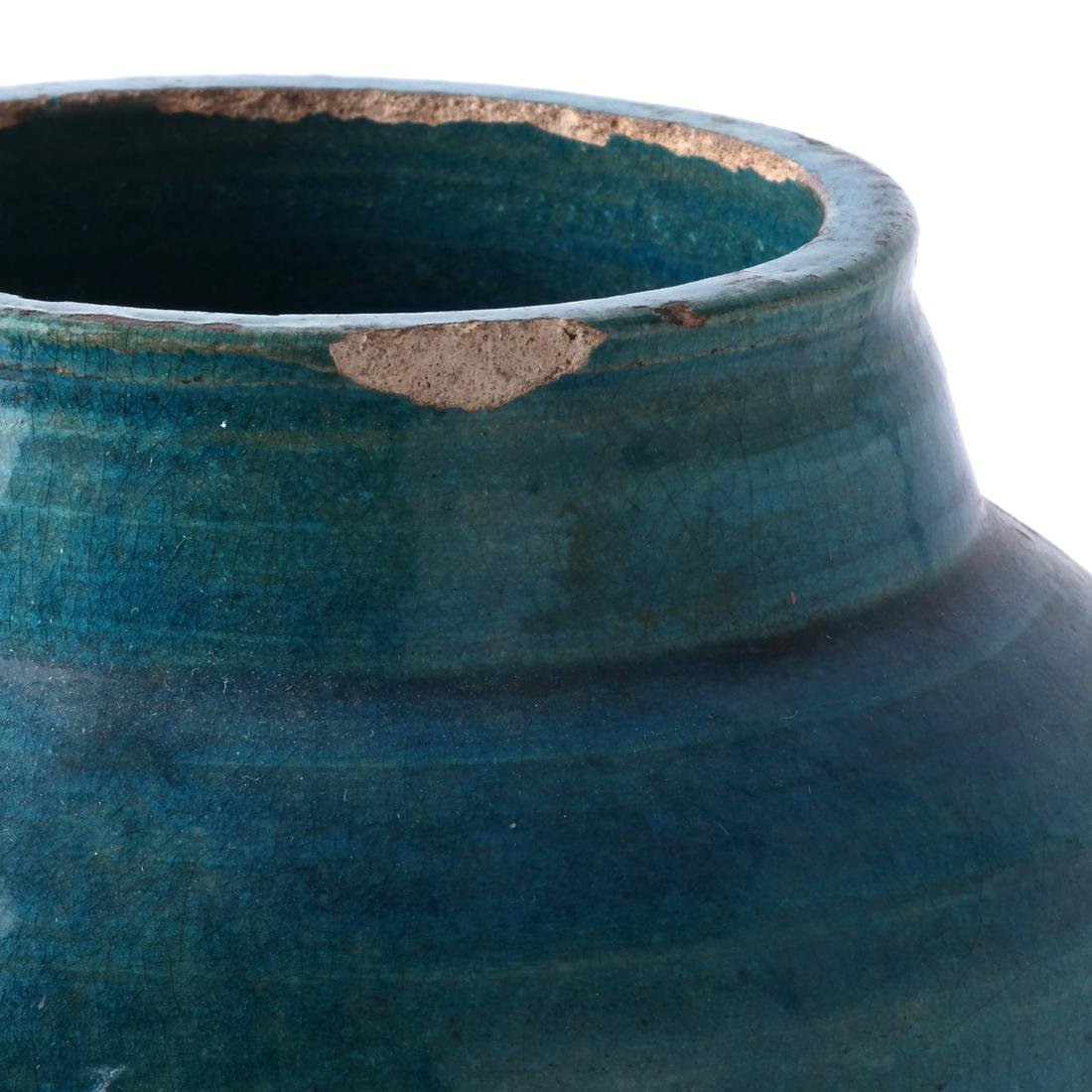 Chinese Ceramic Jar, Turquoise Colored - 2