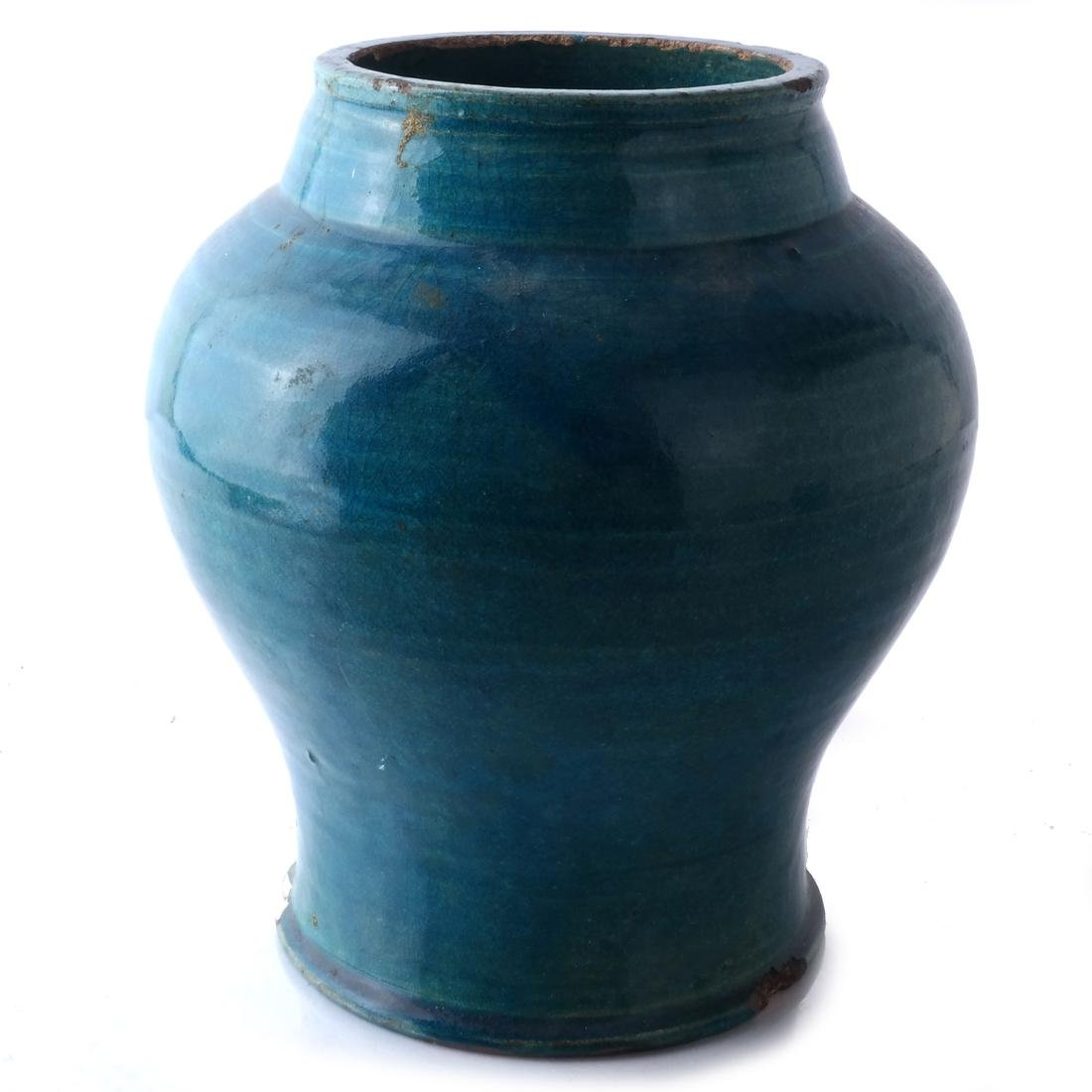 Chinese Ceramic Jar, Turquoise Colored - 4