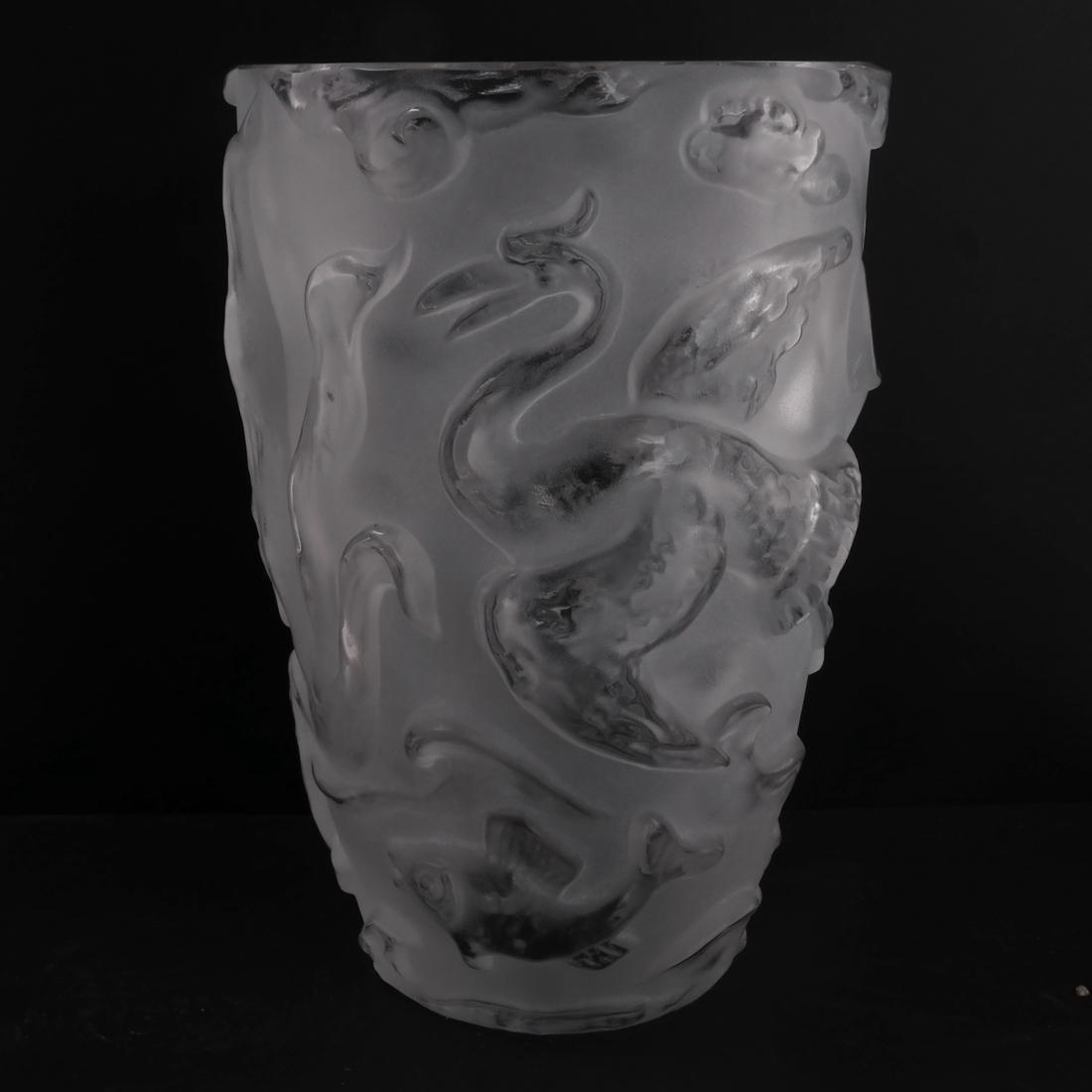 Lalique-Style Cranes Vase