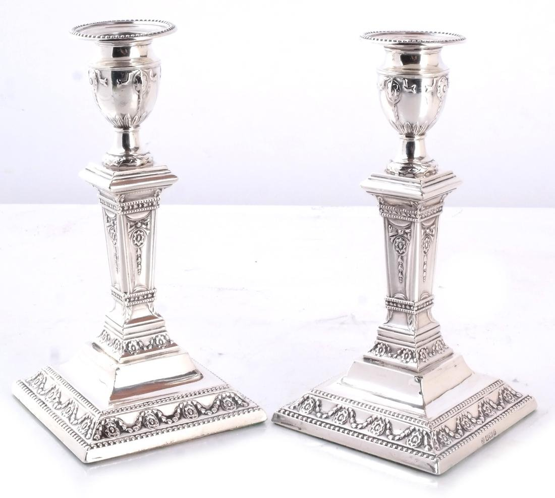 Pair 19th C. Silver Candlesticks