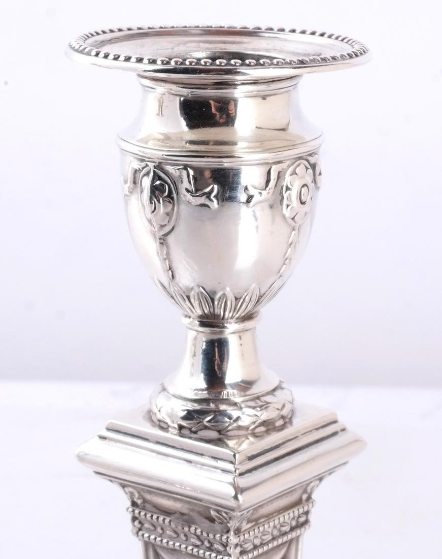 Pair 19th C. Silver Candlesticks - 2