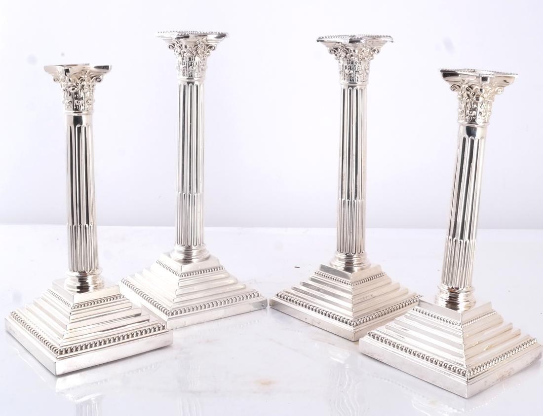 Set of 4 Silver 19th C. English Candlesticks