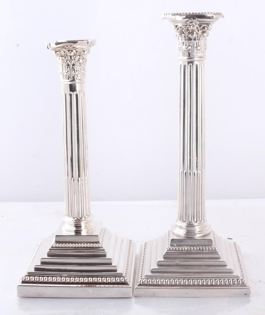 Set of 4 Silver 19th C. English Candlesticks - 2