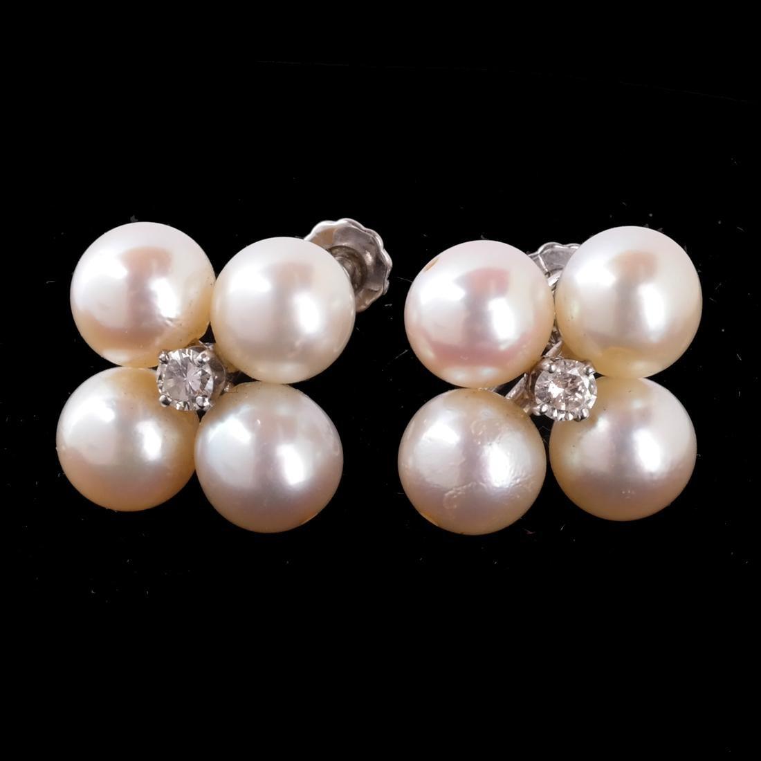 14k WG 9mm Cultured Pearl Earrings
