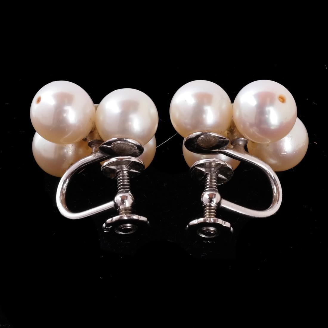 14k WG 9mm Cultured Pearl Earrings - 3