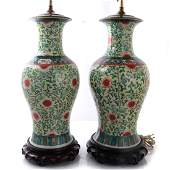 Chinese Porcelain Pair of Table Lamps
