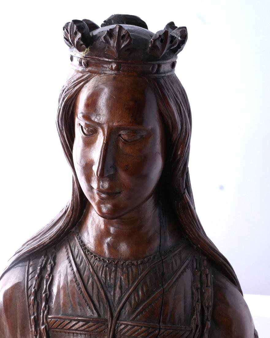 French Carved Wood Sculpture Bust - 2