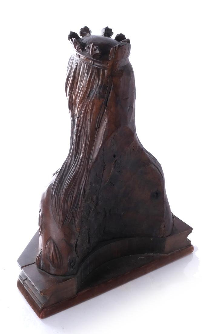 French Carved Wood Sculpture Bust - 4