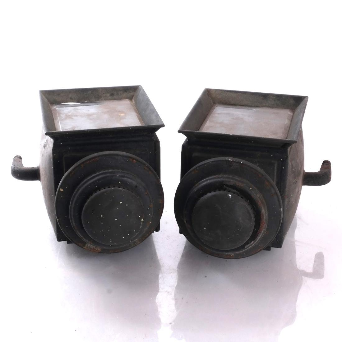 Pair Black Carriage Coach Lamps - 3