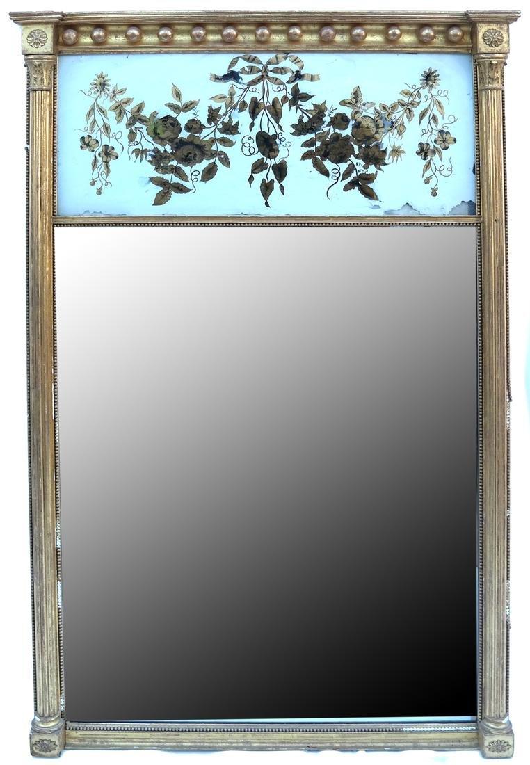 Regency Gilded and Eglomise Pier Mirror