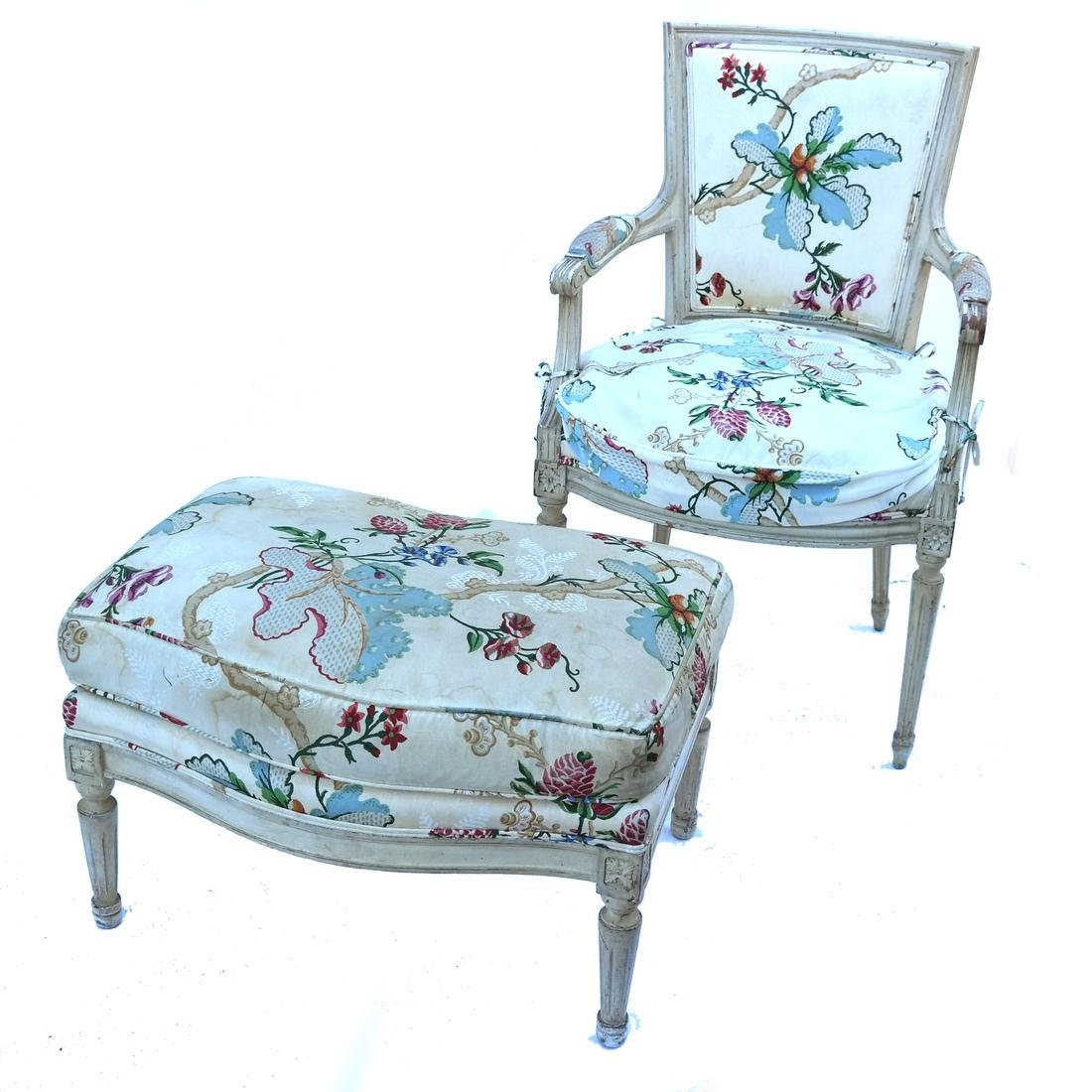 Louis XVI Style Armchair and Footrest