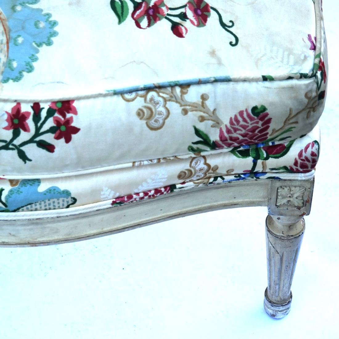 Louis XVI Style Armchair and Footrest - 5