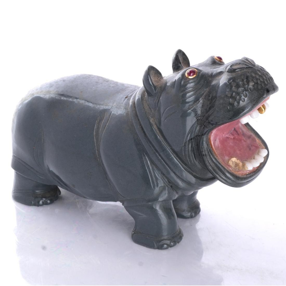 Russian Gray Chalcedony Hippopotamus Ruby Eyes